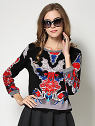 Women's Casual/Daily Vintage Warm All Match Print  Hoodies Color Block