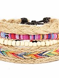 4pcs/set Punk  Women Men's Bracelet PU Leather Bracelet Bohemian Multicolor Beads Multilayer for Men Fashion Jewelry