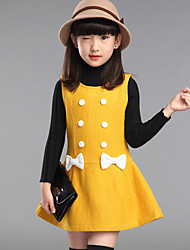 Girl's Casual/Daily Solid DressPolyester Spring / Fall Red / Yellow