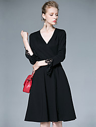 AFOLD® Women's V Neck Long Sleeve Knee-length Dress-6039