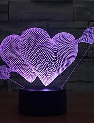 du coeur touche gradation 3d conduit de lumière de nuit lampe atmosphère décoration 7colorful éclairage nouveauté lumière de Noël