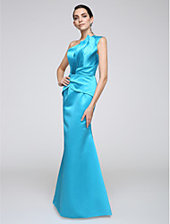 Mermaid / Trumpet One Shoulder Floor Length Stretch Satin Formal Evening Dress with Side Draping by TS Couture®