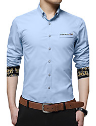 Men's Fashion Cuff Color Block Slim Fit Business Long Sleeved Shirt; Cotton/Plus Size/Dress