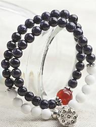 Strand Bracelets 1pc,Black Bracelet Vintage Round 514 Gem Jewellery