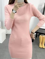 Damen Lang Pullover-Ausgehen / Lässig/Alltäglich Einfach Solide Rosa / Weiß / Schwarz / Grau / Orange Rollkragen Langarm Kunstseide Herbst