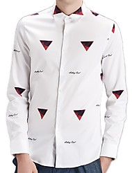 Men's Print Casual / Work / Formal / Sport Shirt,Cotton Long Sleeve Black / White