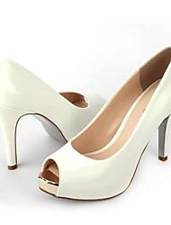 Damen-High Heels-Outddor / Lässig-Leder-Stöckelabsatz-Absätze-Schwarz / Weiß