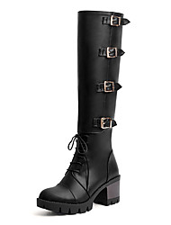 Women's Boots Winter Riding Boots / Round Toe Chunky Heel Buckle / Lace-up Black / Brown / White Others