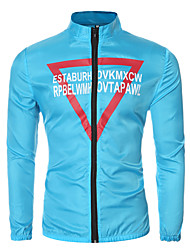 Men's Long Sleeve Casual / Sport JacketCotton / Polyester Letter Black / Blue / White