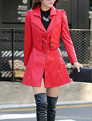 Women's Casual/Daily Street chic Fall Leather Jackets,Solid Shirt Collar Long Sleeve Red / Black / Yellow PU Medium Set