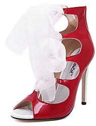Feminino-Saltos-Saltos-Salto Agulha-Vermelho / Branco-Couro Ecológico-Casual