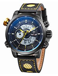 WEIDE® Men Fashion Black Analog Digital Sport Watch Leather Strap Stopwatch/Alarm Backlight/Waterproof Wrist Watch Cool Watch Unique Watch