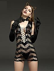 Для женщин Белье с поясом для чулок Ультра-секси Комбинация Ночное белье Нейлон Черный
