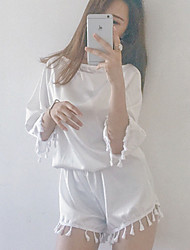 Women's Casual/Daily Simple Spring / Fall T-shirt Pant,Solid V Neck ¾ Sleeve White / Black Silk Thin Set