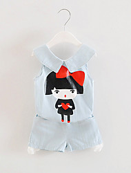 FanXingBeiYiGirl's Casual/Daily Solid Blouse / Pants / Clothing Set,Others Summer Blue