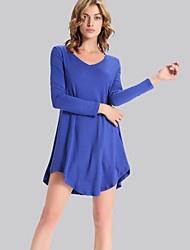 Women's Casual/Daily Simple Loose Dress,Solid V Neck Asymmetrical Long Sleeve Blue Polyester Fall / Winter