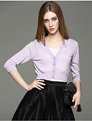 Mara Carol® Femme Col en V Manches 3/4 Pull & Cardigan Blanc / Violet / Jaune / Bleu cair-1620112