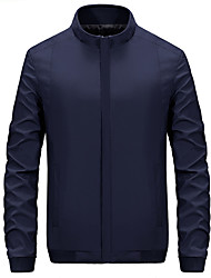 Men's Solid Casual / Formal Trench coat,Bamboo Fiber / Polyester Long Sleeve-Black / Blue / Brown