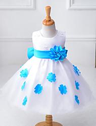 Sheath / Column Knee-length Flower Girl Dress - Organza / Polyester Sleeveless Jewel with