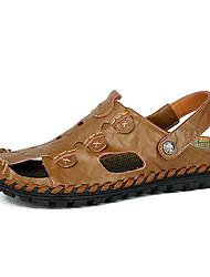 Men's Sandals Summer Open Toe / Sandals Leather Casual Flat Heel Others Black / Yellow / Khaki Walking