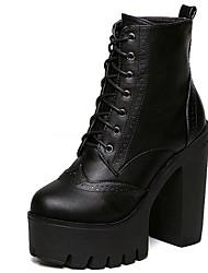 Для женщин Ботинки Армейские ботинки Дерматин Зима Повседневные Для праздника Армейские ботинки Шнуровка На толстом каблуке ЧерныйБолее