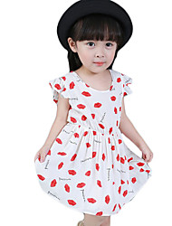 Girl's Going out Print Dress,Cotton / Others Summer White