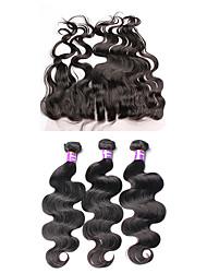 Trama do cabelo com Encerramento Cabelo Brasileiro Onda de Corpo 12 meses 4 Peças tece cabelo