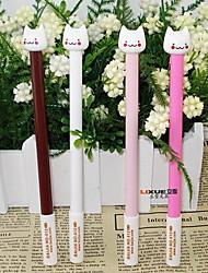 Korea Stationery Fresh And Lovely Cat Black Gel Pen Needle Tube Pen (Random Color)
