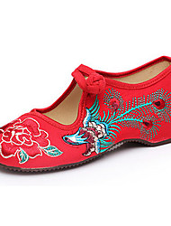 Women's Shoes Canvas Spring Summer Fall Mary Jane Comfort Flats Casual Flat Heel Buckle Flower Black Red Walking