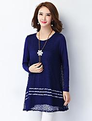 Damen Patchwork Einfach Lässig/Alltäglich / Übergröße T-shirt,Rundhalsausschnitt Herbst Langarm Blau / Weiß / SchwarzKunstseide /