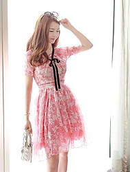 Women's Going out Cute A Line Dress,Floral Round Neck Knee-length ½ Length Sleeve Pink Polyester Summer