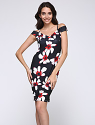 Women's Sexy Floral Bodycon Dress , V Neck Knee-length Cotton / Polyester