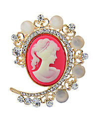 Women's Fashion Imitation Pearl Crystal Antique Silver Vintage Brooch Pins Jewelry Queen Rhinestone Party Brooches