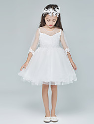 A-line Short / Mini Flower Girl Dress - Tulle Half Sleeve Scoop with Lace