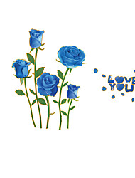 Blue Rose Flowers Wall Sticker Beautiful Forals Love You Wall Decals for Family Love