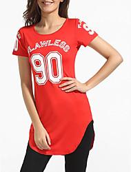 Damen Solide Sexy Lässig/Alltäglich T-shirt,Rundhalsausschnitt Sommer Kurzarm Rot Polyester Dünn
