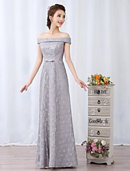 Cocktail Party / Formal Evening Dress A-line Off-the-shoulder Floor-length Lace with Bow(s) / Lace / Sash / Ribbon