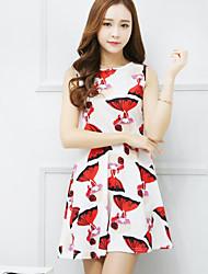 Mujer Vaina Vestido Noche Bonito,Estampado Escote Redondo Mini Sin Mangas Blanco Poliéster Verano Tiro Alto Rígido