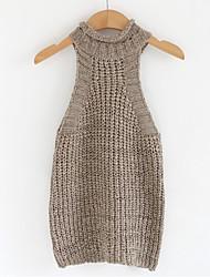 Normal Pullover Femme Décontracté / Quotidien simple,Couleur Pleine Marron Col Roulé Sans Manches Coton Printemps / Automne Moyen