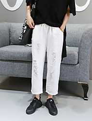 Women's Solid White Jeans Pants,Simple