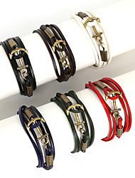 Браслеты Браслеты с подвесками / Wrap Браслеты / Кожаные браслеты Сплав / Кожа В форме линии Мода Повседневные / Спорт Бижутерия Подарок