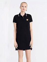 Boutique S Going out/ Sports Simple / Sophisticated Summer Polo,Solid / Animal Print Shirt Collar Short SleevePink