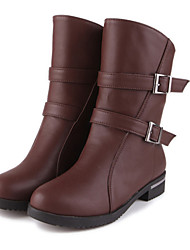 Women's  Fashion Boots / Comfort / Round Toe Leatherette Office & Career / Dress / Casual Low Heel Buckle