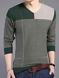 Men's Striped Casual Pullover,Cotton Long Sleeve