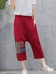 Women's Print Red Wide Leg Pants,Simple