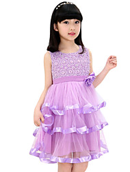 Girl's Going out Jacquard Dress,Nylon Summer Purple / Red / White