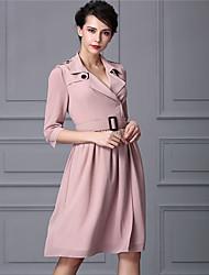Baoyan® Femme Col en V Manches 1/2 Au dessus des genoux Robes-160328