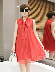 Maternity Going out Sexy Loose Dress,Solid V Neck Above Knee Sleeveless Red / White Polyester Summer Micro-elastic Thin