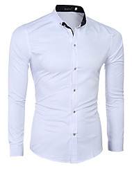 Men's Solid Casual / Formal Shirt,Cotton Long Sleeve White