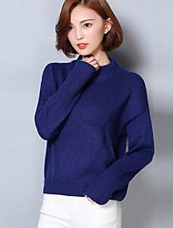 Damen Kurz Pullover-Lässig/Alltäglich Einfach Solide Blau / Rot Rundhalsausschnitt Langarm Acryl / Nylon Herbst Mittel Mikro-elastisch